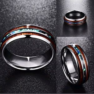 Other - Silver w/ Koa wood & abalone inlays ring band 8mm